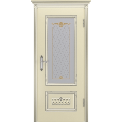 Ульяновская дверь Британия-3 эмаль слоновая кость патина серебро ДО
