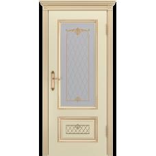 Ульяновская дверь Британия-3 эмаль слоновая кость патина золото ДО
