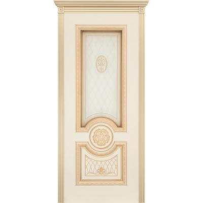 Ульяновская дверь Гамма эмаль слоновая кость патина золото ДО