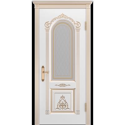 Ульяновская дверь Ода-1 белая эмаль патина золото ДО
