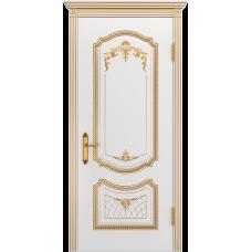 Ульяновская дверь Премьера-3 белая эмаль патина золото ДГ