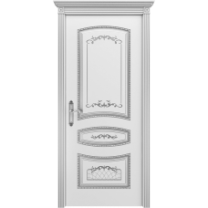 Ульяновская дверь Соната белая эмаль патина серебро ДГ