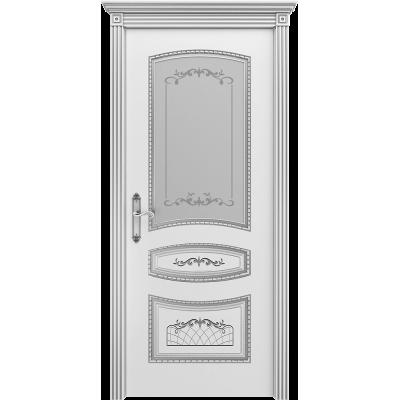 Ульяновская дверь Соната белая эмаль патина серебро ДО