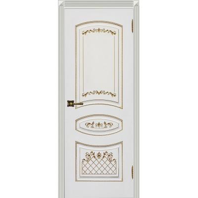 Дверь Карина-3 белая эмаль патина золото ДГ