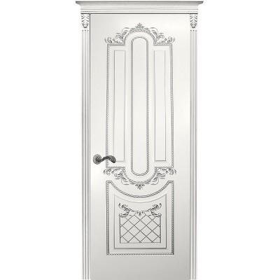 Дверь Карина-4 белая эмаль патина серебро ДГ