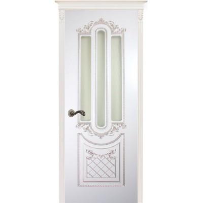 Дверь Карина-4 белая эмаль патина серебро ДО