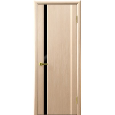 Ульяновская дверь Синай-1 белёный дуб ДО чёрное