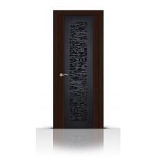 Дверь СитиДорс модель Вейчи цвет Венге триплекс чёрный