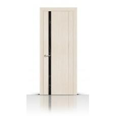Дверь СитиДорс модель Бриллиант-1 цвет Белёный дуб триплекс чёрный