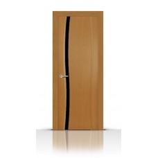 Дверь СитиДорс модель Жемчуг-1 цвет Анегри светлый триплекс чёрный