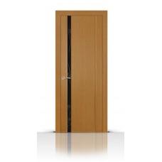 Дверь СитиДорс модель Бриллиант-1 цвет Анегри светлый триплекс чёрный