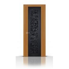 Дверь СитиДорс модель Вейчи цвет Анегри светлый триплекс чёрный