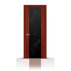 Дверь СитиДорс модель Бриллиант цвет Красное дерево триплекс чёрный