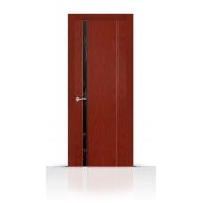 Дверь СитиДорс модель Бриллиант-1 цвет Красное дерево триплекс чёрный