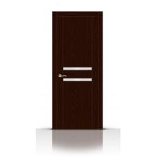Дверь СитиДорс модель Турин-2 цвет Ясень шоколад триплекс белый