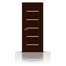 Дверь СитиДорс модель Турин-5 цвет Ясень шоколад триплекс белый