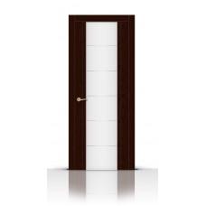 Дверь СитиДорс модель Виконт цвет Ясень шоколад триплекс белый