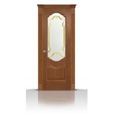 Дверь СитиДорс модель Гиацинт цвет Американский орех стекло Нежность