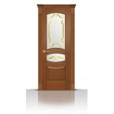 Дверь СитиДорс модель Гелиодор цвет Американский орех стекло Нежность