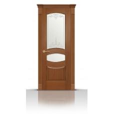 Дверь СитиДорс модель Гелиодор цвет Американский орех стекло Романтик