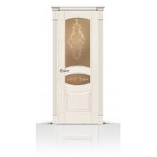 Дверь СитиДорс модель Гелиодор цвет Ясень белый стекло Кружево