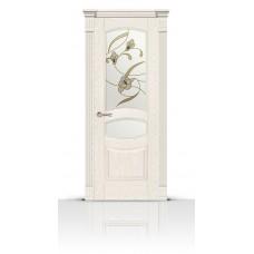 Дверь СитиДорс модель Гелиодор цвет Ясень белый стекло Лирика