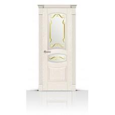Дверь СитиДорс модель Гелиодор цвет Ясень белый стекло Нежность