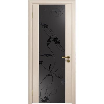 Межкомнатная Дверь DioDoor Винтаж-2 беленый дуб черный триплекс Вьюнок матовый