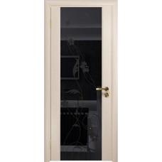 Дверь DioDoor Винтаж-2 беленый дуб черный триплекс Вьюнок глянцевый