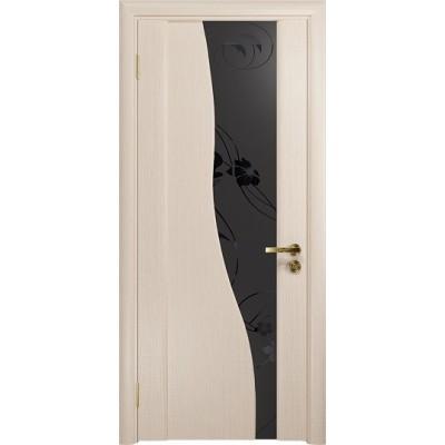 Межкомнатная Дверь DioDoor Торелло беленый дуб черный триплекс Вьюнок матовый