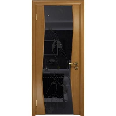 Межкомнатная Дверь DioDoor Грация-3 анегри черный триплекс Вьюнок глянцевый