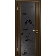 Дверь DioDoor Винтаж-2 венге черный триплекс Вьюнок матовый