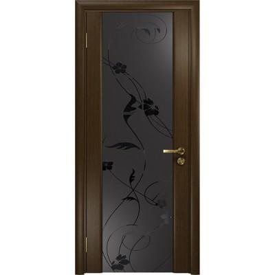 Межкомнатная Дверь DioDoor Винтаж-2 венге черный триплекс Вьюнок матовый