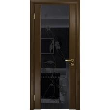 Дверь DioDoor Винтаж-2 венге черный триплекс Вьюнок глянцевый