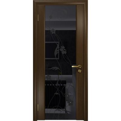 Межкомнатная Дверь DioDoor Винтаж-2 венге черный триплекс Вьюнок глянцевый
