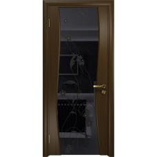 Дверь DioDoor Грация-3 венге черный триплекс Вьюнок глянцевый