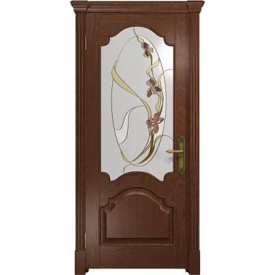 Межкомнатная Дверь DioDoor Валенсия красное дерево витраж Овал