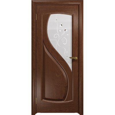 Межкомнатная Дверь DioDoor Диона-1 красное дерево белое пескоструйное Лилия