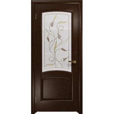 Межкомнатная Дверь DioDoor Ровере красное дерево белое витраж Ангел
