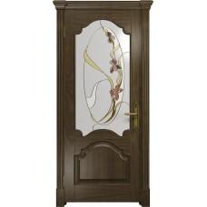 Дверь DioDoor Валенсия американский орех витраж Овал