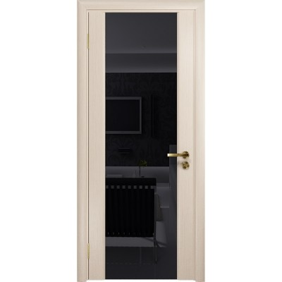 Межкомнатная Дверь DioDoor Триумф-3 беленый дуб чёрный триплекс