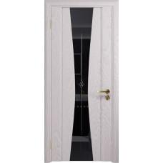 Дверь DioDoor Соната-2 ясень белый черный триплекс гравировка Звезда