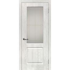 Дверь МариаМ Версаль-1 Дуб жемчужный стекло контур золото
