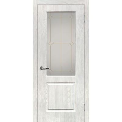 Межкомнатная Дверь МариаМ Версаль-1 Дуб жемчужный стекло контур золото