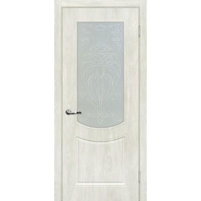 Межкомнатная Дверь МариаМ Сиена-3 Дуб жемчужный стекло контур серебро