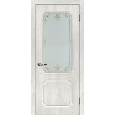 Межкомнатная Дверь МариаМ Сиена-4 Дуб жемчужный стекло контур золото