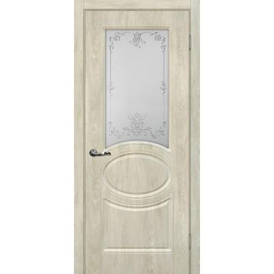 Межкомнатная Дверь МариаМ Сиена-1 Дуб седой стекло контур серебро