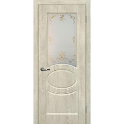 Межкомнатная Дверь МариаМ Сиена-1 Дуб седой стекло контур золото