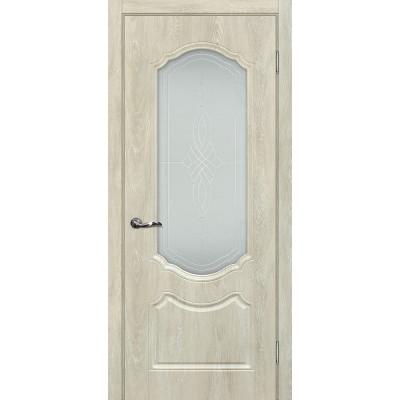 Межкомнатная Дверь МариаМ Сиена-2 Дуб седой стекло контур серебро