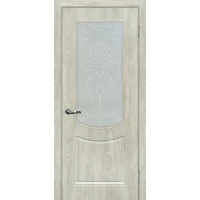 Межкомнатная Дверь МариаМ Сиена-3 Дуб седой стекло контур серебро